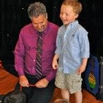 kids magician with super fan Lucas